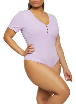 Plus Size Ribbed Short Sleeve Bodysuit - 1911038340294