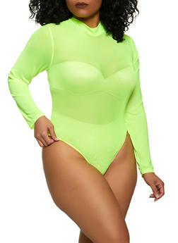 Plus Size Mock Neck Mesh Bodysuit - 1911038340305