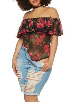 Plus Size Off the Shoulder Floral Mesh Bodysuit - 1911038342283