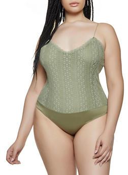 Plus Size Lace V Neck Bodysuit - 1911054260873