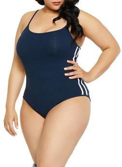Plus Size Varsity Stripe Cami Bodysuit - 1911054260901