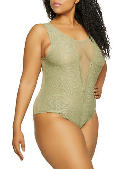 Plus Size Sleeveless Lace Mesh Bodysuit - 1911054260976