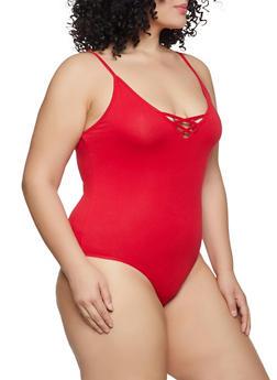 Plus Size Caged V Neck Bodysuit - 1911054260998