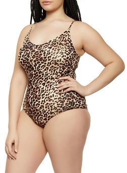 Plus Size Cheetah Print Thong Bodysuit - 1911054261309
