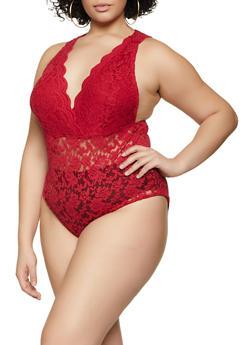 Plus Size Lace Bodysuit - 1911054264769
