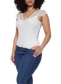 Plus Size Swiss Dot Mesh Bodysuit - 1911054266998