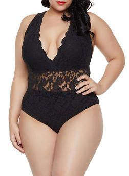 Plus Size Faux Wrap Lace Bodysuit - Black - Size 2X - 1911054269674