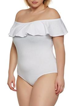 Plus Size Off the Shoulder Bodysuit - 1911054269722