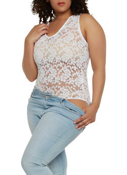 Plus Size Sheer Lace Bodysuit - 1911054269932