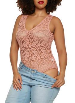 Plus Size Sheer Lace Bodysuit - 1911054269932