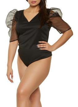 Plus Size Organza Puff Sleeve Bodysuit - 1911058752767