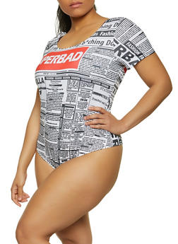 Plus Size Newspaper Print Thong Bodysuit - 1911058754859