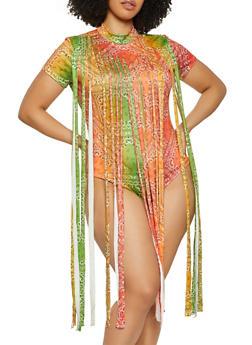 Plus Size Bandana Print Fringe Overlay Bodysuit - 1911062120577