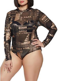 Plus Size Printed Button Back Mesh Bodysuit - 1911062121085
