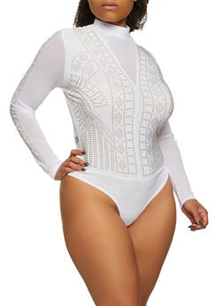 Plus Size Mesh Detail Studded Thong Bodysuit - 1911062121687