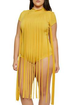 Plus Size Fringe Keyhole Back Bodysuit - 1911062121775