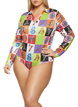 Plus Size Printed Long Sleeve Bodysuit - 1911062122015