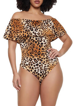 Plus Size Leopard Off the Shoulder Bodysuit - 1911062123700