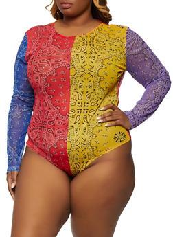 Plus Size Bandana Print Bodysuit - 1911062126000
