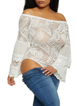Plus Size Off the Shoulder Lace Bodysuit - 1911062126072
