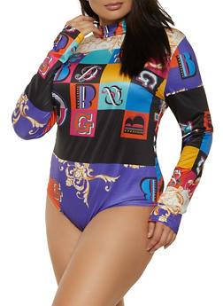 Plus Size Multi Color Printed Mock Neck Bodysuit - 1911062126400
