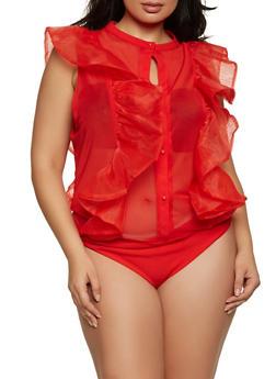 Plus Size Organza Trim Mesh Bodysuit - 1911062127963