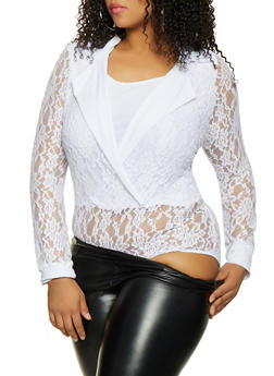 Plus Size Lace Faux Wrap Bodysuit - 1911062128000