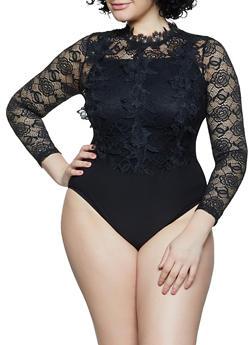 Plus Size Lace Button Back Bodysuit - 1911062703064