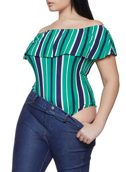 aa674b960c6c5 Plus Size Striped Off the Shoulder Bodysuit - 1911072240861
