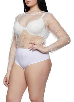 Plus Size Faux Pearl Mesh Bodysuit - 1911074284143