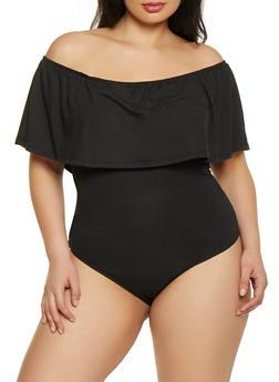 Plus Size Soft Knit Off the Shoulder Bodysuit - 1911074289007