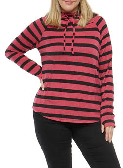 Plus Size Stripe Hooded Sweater - 1912001441516