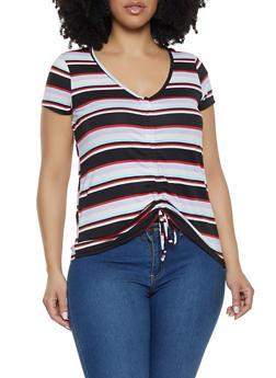 Plus Size Striped Drawstring Front Tee - 1912001441838