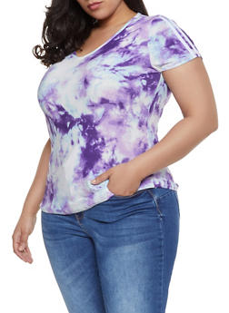 Plus Size Tie Dye Soft Knit Tee - 1912001442621