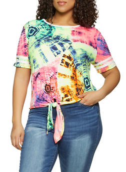Plus Size Varsity Stripe Tie Dye Tee - 1912001442890