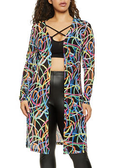 Plus Size Abstract Print Mesh Duster - 1912001444262