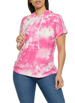 Plus Size Tie Dye Varsity Stripe Tee - 1912001448271