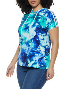 Plus Size Hooded Tie Dye Tee - 1912001448273
