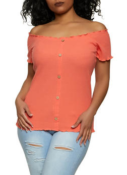 Plus Size Ribbed Off the Shoulder Top - 1912015050006