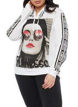 Plus Size Flawless Graphic Hooded Top - 1912033870288