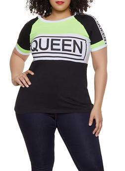 c2c3b9b8061 Plus Size Color Block Queen Graphic Tee - 1912033871065
