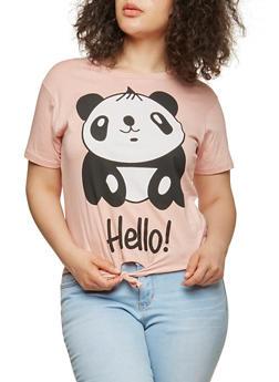 Plus Size Panda Graphic Tie Front T Shirt - 1912033871655