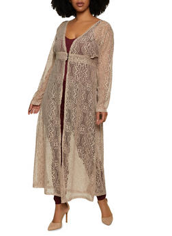 Plus Size 3 Button Lace Duster - 1912033872237