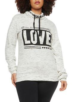 Plus Size Love Graphic Cowl Neck Sweatshirt - 1912033872465