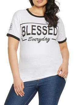 84eab818327 Plus Size Blessed Everyday Graphic Tee - 1912033872644