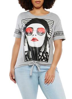 Plus Size Graphic Tie Front T Shirt - 1912033874015