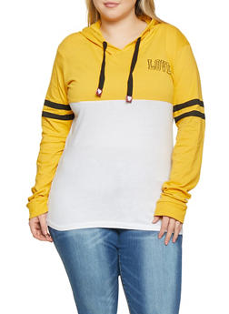 Plus Size Love Color Block Hooded Tee - 1912033874689