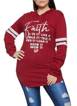 Plus Size Faith Hooded Top - 1912033875192