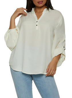 Plus Size Two Button V Neck Blouse - 1912033875447