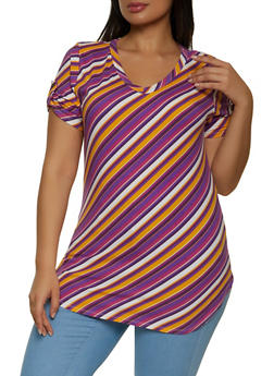 Plus Size Striped Soft Knit V Neck Tee - 1912033876622